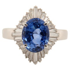 6.83 Carat Blue Sapphire and Diamond Cocktail Ring