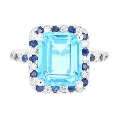 6.83 Carat Blue Topaz Sapphire Diamond 14 Karat White Gold Ring