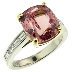 6.83 Carat Malaya or Mahenge Garnet in 18 Karat Gold and Diamond Custom Ring