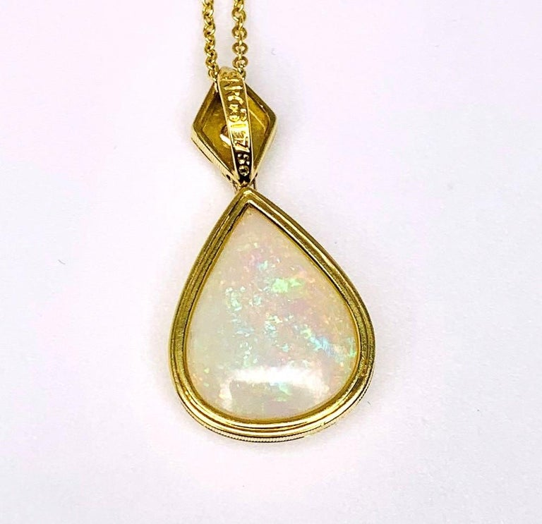 6.83 Carat Pear Shape Opal and Diamond 18 Karat Yellow Gold Pendant For Sale 1