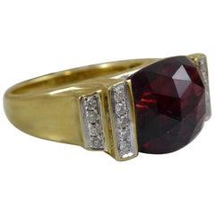 6.83 Carat Vintage Faceted Garnet and Diamond Cocktail Dress Ring