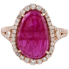 6.83 Carat Ruby Diamond Ring 18 Karat Yellow Gold