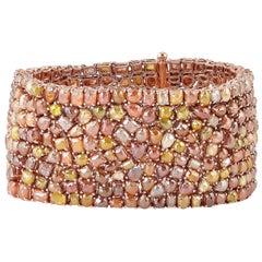 68.35 Carat Fancy Diamond 18 Karat Gold Cuff Bracelet
