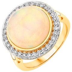 6.84 Carat Ethiopian Opal and Diamond 14 Karat Yellow Gold Ring