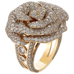 6.84 Carat Exquisite Diamond Pave Rose Ring in 18 Karat Pink Gold