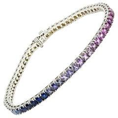 6.84 Carat Rainbow Princess Cut Sapphire 14 Karat White Gold Bracelet