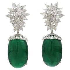 68.40 Carat Diamond Emerald 18 Karat White Gold Chandelier Earrings