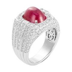 6.85 Carat Cabochon Ruby Diamond 18 Karat White Gold Cocktail Ring