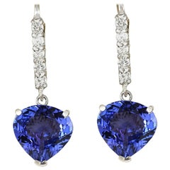 6.85 Carat Natural Tanzanite 18 Karat White Gold Diamond Earrings