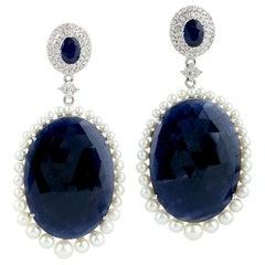 68.6 Carat Blue Sapphire Diamond Pearl 18 Karat White Gold Earrings