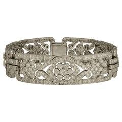 6.86 Carat Diamond Bracelet with Floral Accents