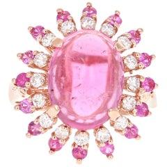 6.86 Carat Pink Sapphire Tourmaline Diamond Rose Gold Cocktail Ring