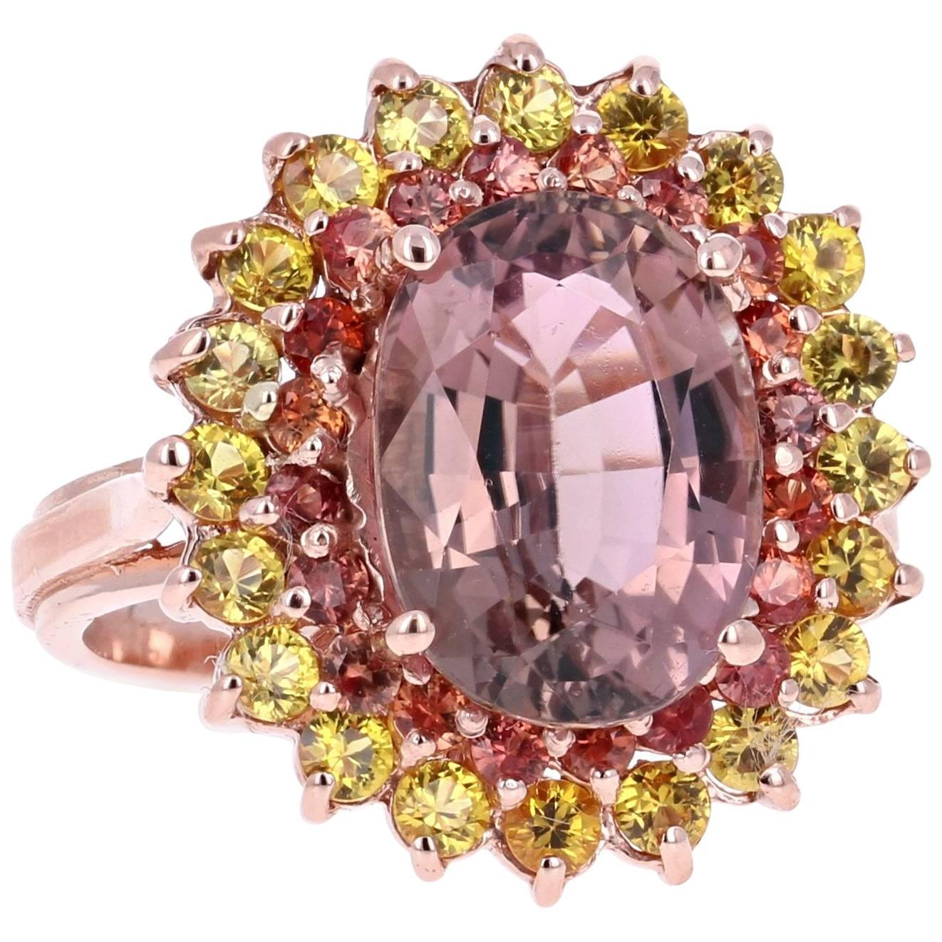 Yellow Sapphire Tourmaline 14 Karat Rose Gold Cocktail Ring