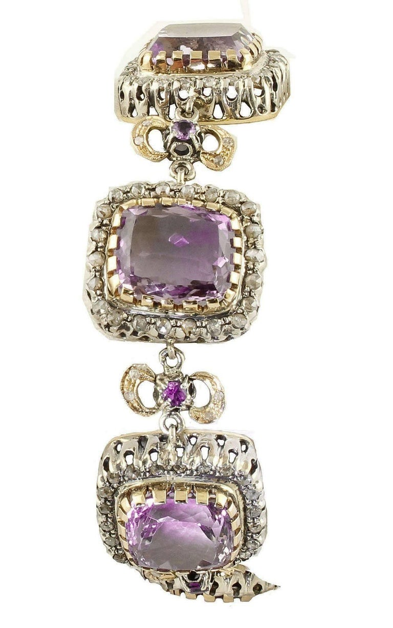 Retro Amethyst Diamonds Gold and Silver Link Bracelet For Sale