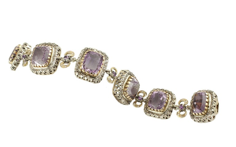 Amethyst Diamonds Gold and Silver Link Bracelet In Good Condition For Sale In Marcianise, Caserta