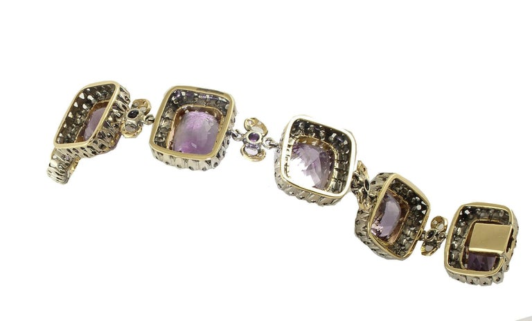 Women's Amethyst Diamonds Gold and Silver Link Bracelet For Sale