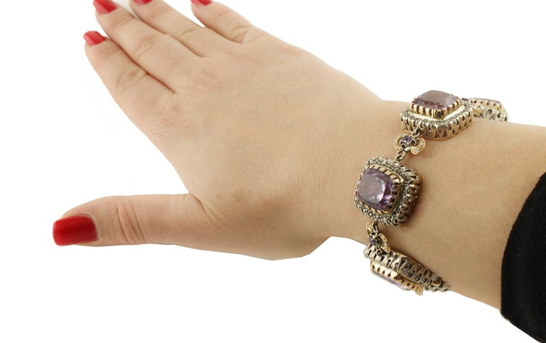 Amethyst Diamonds Gold and Silver Link Bracelet For Sale 2