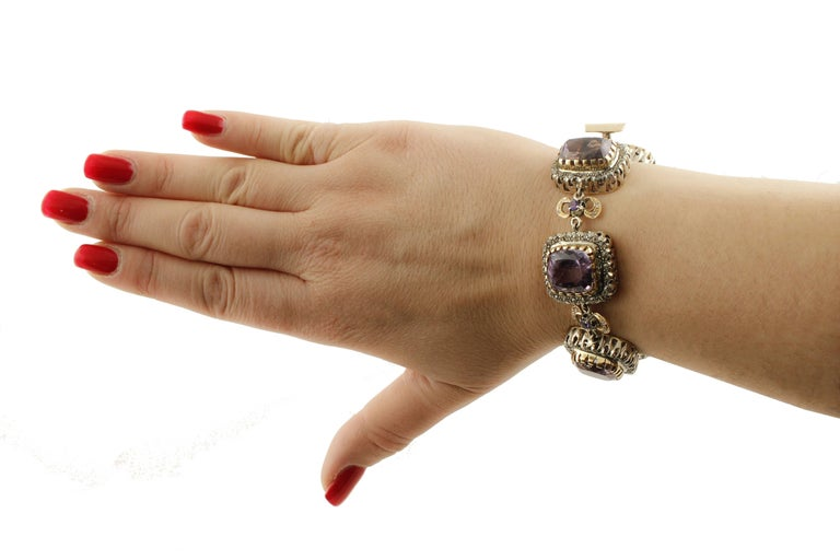 Amethyst Diamonds Gold and Silver Link Bracelet For Sale 3