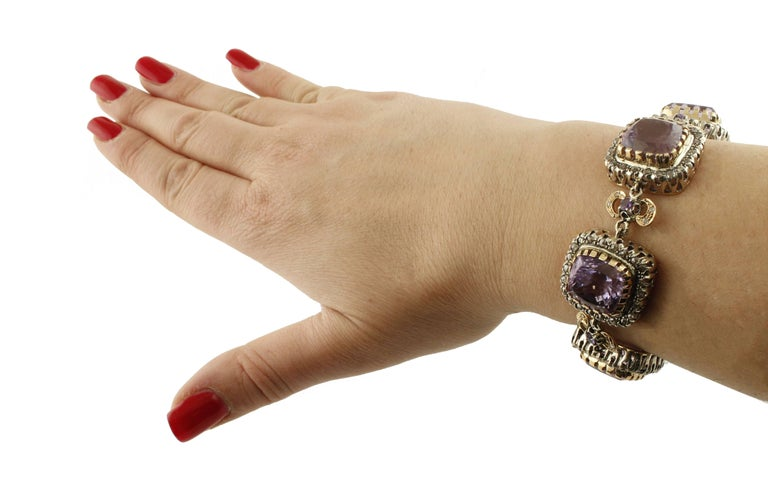 Amethyst Diamonds Gold and Silver Link Bracelet For Sale 4
