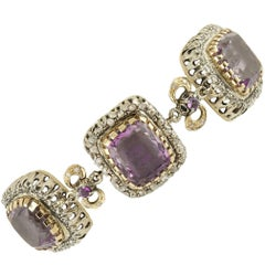 Amethyst Diamonds Gold and Silver Link Bracelet