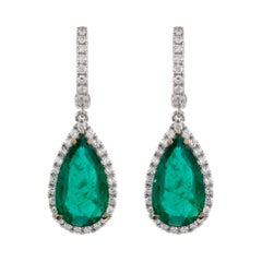 6.86ct Emerald with Diamond Halo Drop Earrings 18k White Gold