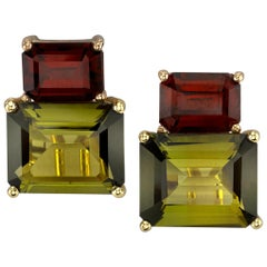 6.87 Carat Olive Tourmaline & Garnet 18k Rose & Yellow Gold French Clip Earrings