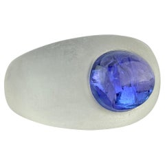 6.87 Carat Tanzanite and Rock Crystal Dome Ring