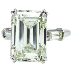 6.87 Carat Vintage Emerald Cut Diamond Wedding Platinum Ring EGL, USA