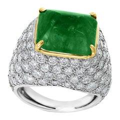 6.87 Carat Sugar Loaf Cabochon Colombian Emerald Diamond Unisex Ring in Platinum