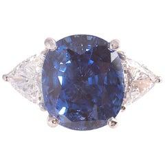 6.88 Carat Blue Sapphire 1.02 Carat Diamond Ring