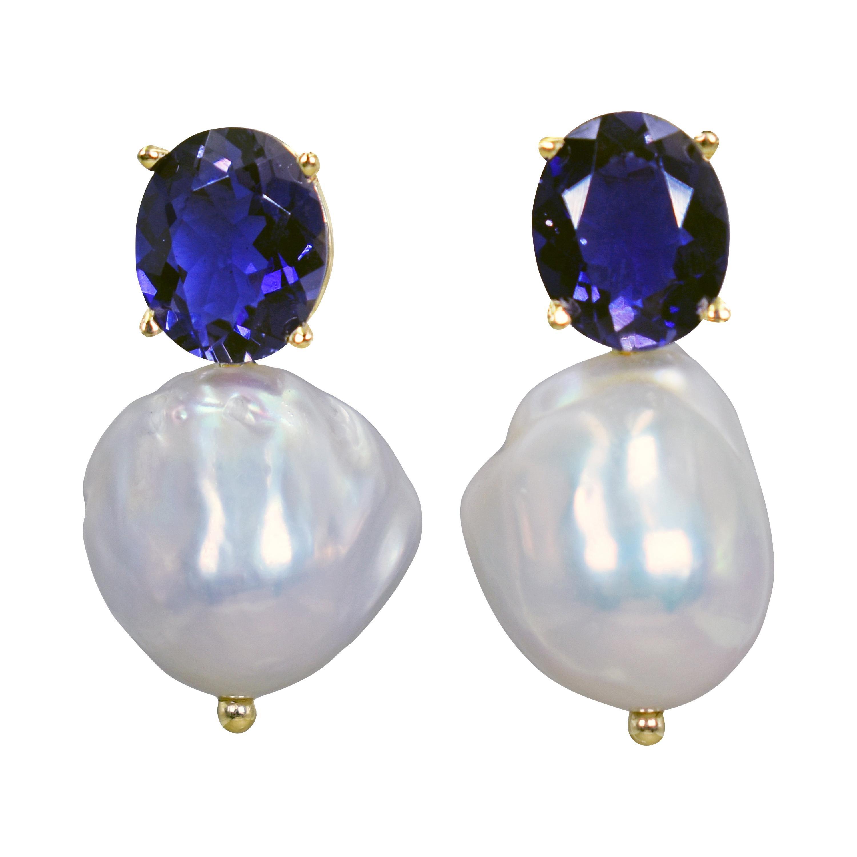 6.88 Carat Iolite and Baroque Freshwater Pearl 14 Karat Gold Drop Stud Earrings