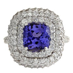6.88 Carat Tanzanite 18 Karat White Gold Diamond Ring