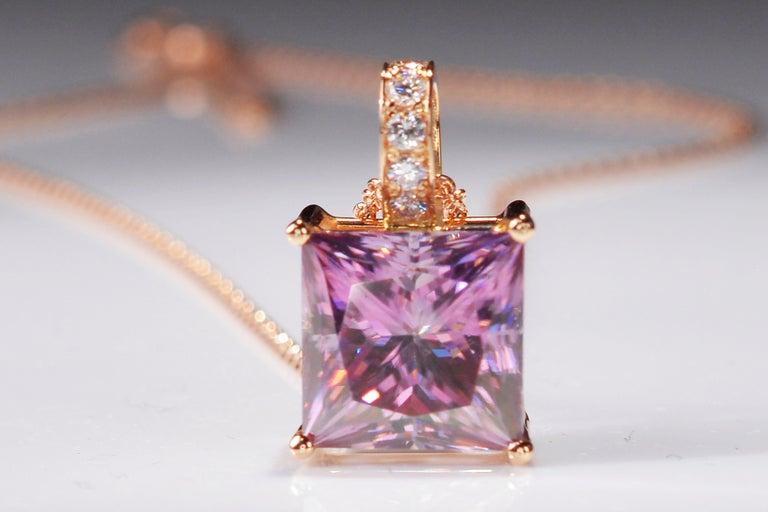 Contemporary 6.89 Carat Fancy Pink Radiant Cut Moissanite Diamond 18 Karat Rose Gold Necklace For Sale