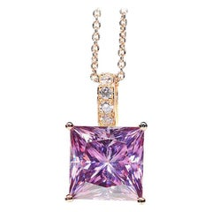 6.89 Carat Fancy Pink Radiant Cut Moissanite Diamond 18 Karat Rose Gold Necklace