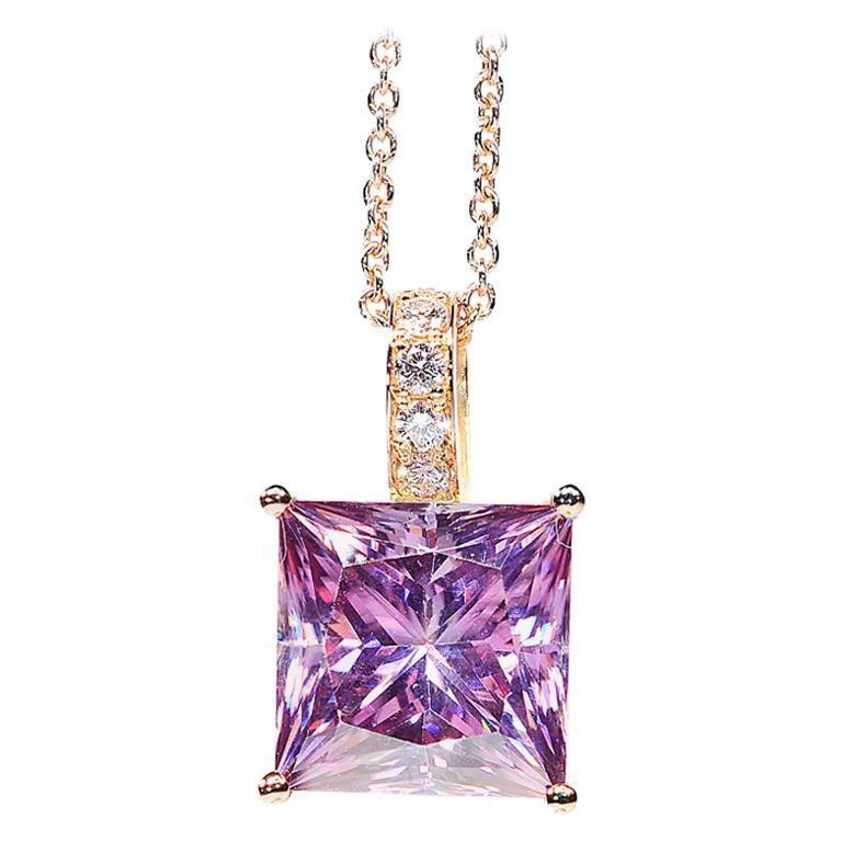 6.89 Carat Fancy Pink Radiant Cut Moissanite Diamond 18 Karat Rose Gold Necklace For Sale