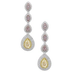 6.89 Carat Pear Shape Diamond Drop Earrings 18 Karat