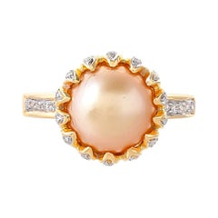 6.89 Carat South Sea Pearl and Diamond 18kt Yellow Gold Ring