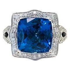 6.89 Carat Tanzanite Diamond 14 Karat White Gold Cocktail Ring