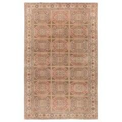 One of a Pair of Vintage Turkish Kysari Rugs, Muted Colors, Wool Pile