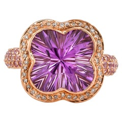 6.9 Carat Amethyst, Pink Sapphire and Diamond Ring in 14 Karat Rose Gold