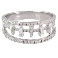 Diamond Engagement 18 Karat White Gold Baguette Ring