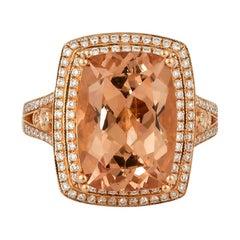 6.9 Carat Morganite and Diamond Ring in 18 Karat Rose Gold