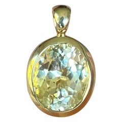 6.9 Carat Unheated Yellow Sapphire and 18 Karat Gold Pendant