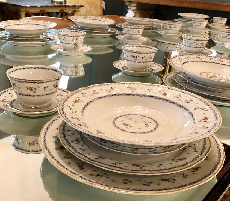 Porcelain 69-Piece Bernardaud Limoge Artois Bleu Dinnerware For Sale