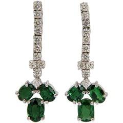 6.90 Carat Bright Vivid Green Natural Tsavorite Diamond Dangle Earrings G/VS