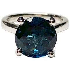 6.90 Carat Round Cut Premium London Blue Topaz Ring in 18 Carat White Gold