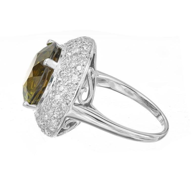 Round Cut 6.90 Carat Tourmaline Diamond Halo Platinum Cocktail Ring For Sale