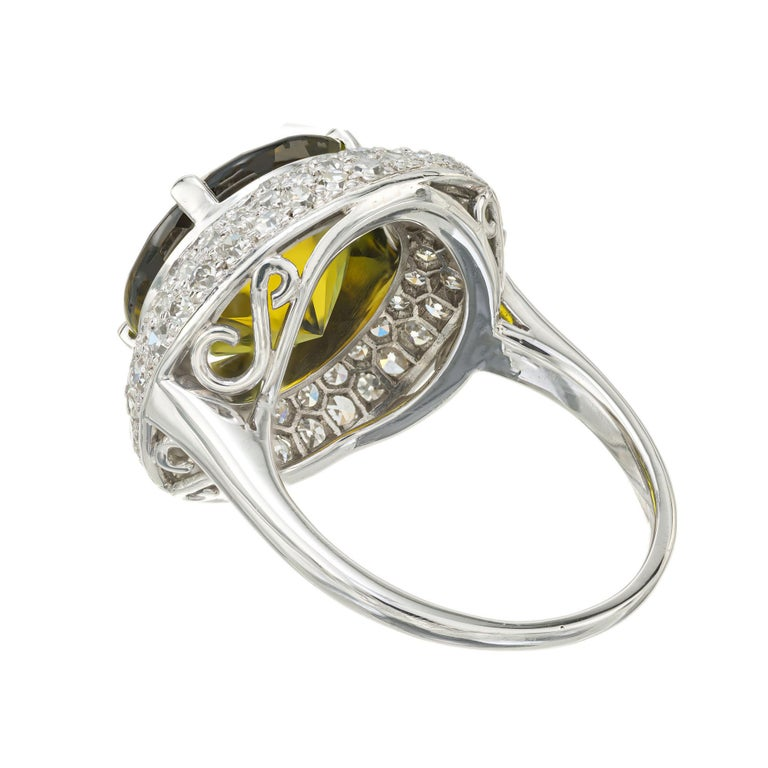 6.90 Carat Tourmaline Diamond Halo Platinum Cocktail Ring In Good Condition For Sale In Stamford, CT