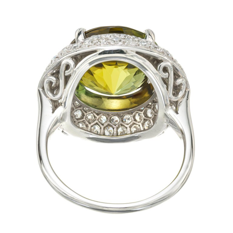 Women's 6.90 Carat Tourmaline Diamond Halo Platinum Cocktail Ring For Sale