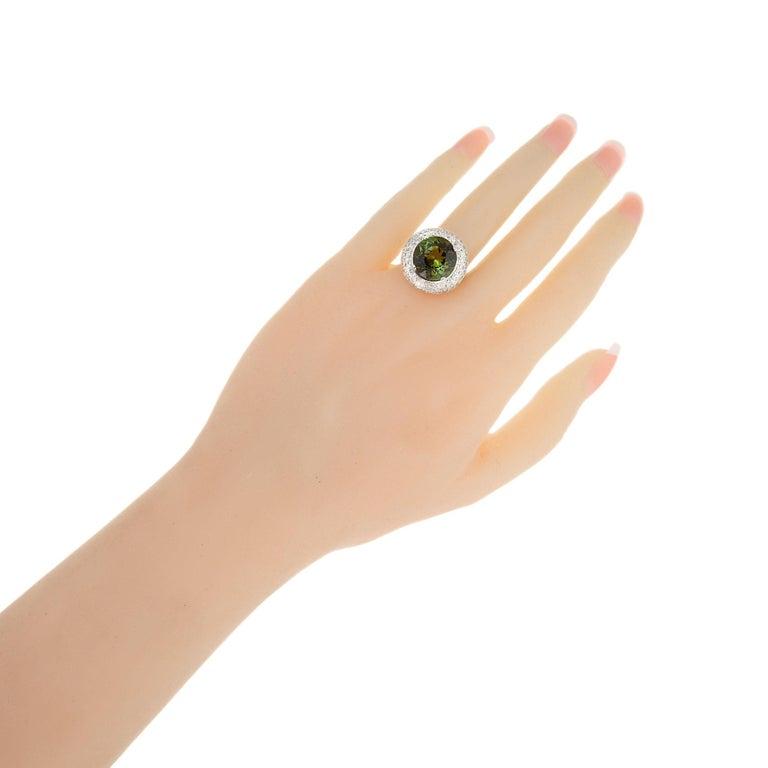 6.90 Carat Tourmaline Diamond Halo Platinum Cocktail Ring For Sale 1